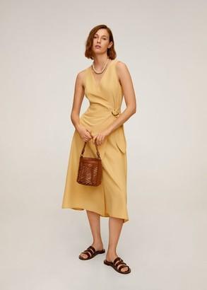 MANGO Modal wrap dress pastel yellow - 2 - Women
