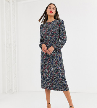 Fashion Union Tall open back tea dress in contrast ditsy floral-Multi