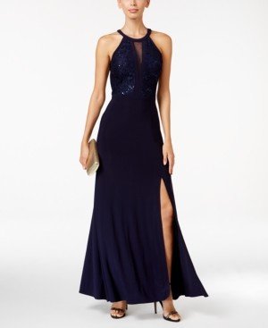 Night Way Nightway Petite Lace-Trim Illusion Halter Gown