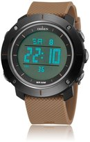 OHSEN Young Womens Girls Digital Time Sport Day Date Quartz Silicone Wrist Watch in Light Brown