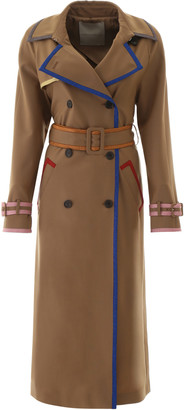 Marco De Vincenzo TRENCH COAT WITH LUREX HEMS 40 Brown, Blue, Gold Wool
