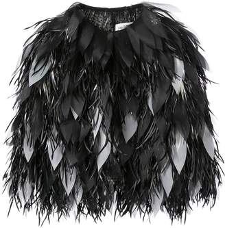 Isabel Sanchis Dipped Feather Organza Petal Jacket