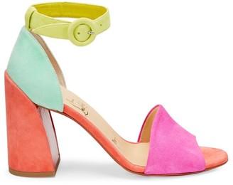 Christian Louboutin Patma Suede Colorblock Ankle-Strap Sandals