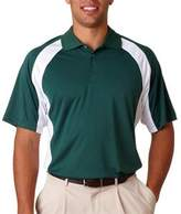 8427 UltraClub Adult Cool & Dry Sport Performance Color Block Interlock Polo (Forest_White) (M)