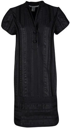 Diane von Furstenberg Black Striped Jacquard Presley Shift Dress M