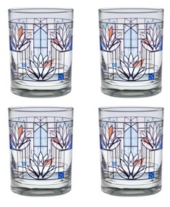 Culver Frank Lloyd Wright Water Lilies Double Old Fashioned Glass - Set of 4