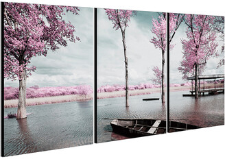 Chic Home Design Blossom 3Pc Set Wrapped Canvas Wall Art