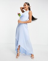 Thumbnail for your product : TFNC Bridesmaid one shoulder maxi dress in light blue
