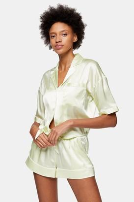 Topshop Womens Green Tie Satin Pyjama Set - Apple
