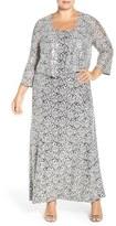 Alex Evenings Plus Size Women's Sequin Lace Gown & Jacket
