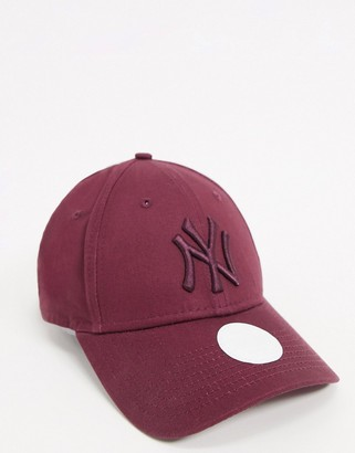 New Era Exclusive NY 9Forty cap in berry with tonal logo