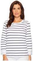 Tribal Stripe French Terry Long Sleeve Top w/ Pocket and Lace-Up Back Women's Clothing