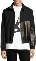 McQ by Alexander McQueen Virgin Wool & Leather Bomber Jacket, Black