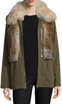 Trilogy Twill Fur-Trim Jacket, Green