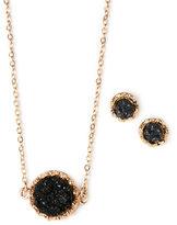 pannee Gold-Tone & Black Earrings & Necklace Set