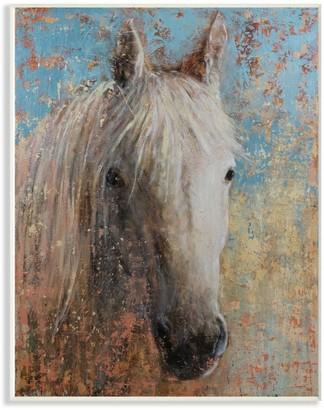 White Horse Stupell Home Decor Distressed Portrait Wall Plaque Art