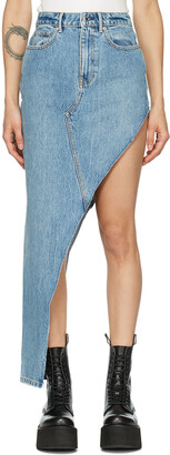 Alexander Wang Blue Denim Asymmetric Skirt
