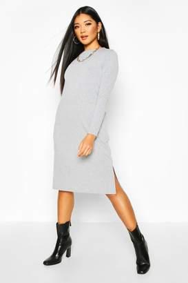 boohoo Long Sleeve Pocket Midi T-shirt Dress