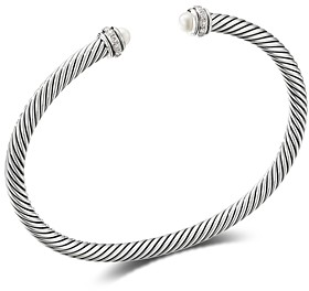 David Yurman Sterling Silver Cable Classic Bracelet with Cultured Freshwater Pearls & Diamonds