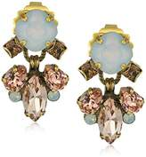 "Sorrelli Pink Peony"" Round and Navette Crystal Drop Earrings"