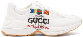 Gucci Rhyton Logo Print Leather Trainers - Mens - White