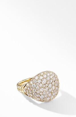 David Yurman Chevron 18K Gold & Pave Diamond Pinky Ring