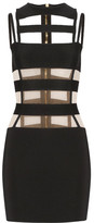 Balmain Cutout Mesh-paneled Stretch-knit Mini Dress - Black