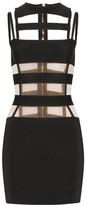 Balmain Cutout Mesh-paneled Stretch-knit Mini Dress - Black