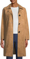 Theory Piazza Button-Front Suede Coat