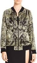 Haute Hippie Crystal Ball Beaded Printed Bomber Jacket