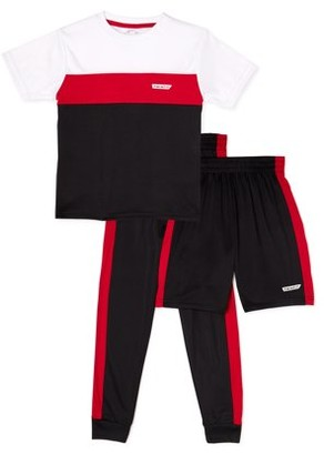 Hind Boys Colorblock T-Shirt, Shorts, & Joggers 3-Piece Active Set, Sizes 4-7