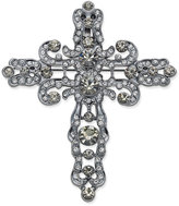 Joan Boyce Black Gold-Tone Crystal Cross Openwork Pin