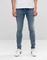Asos Skinny Jeans In Vintage Wash Mid Blue