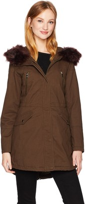 Catherine Malandrino Women's Cotton Anorak Jacket with an Oversized Hood and Faux Fur