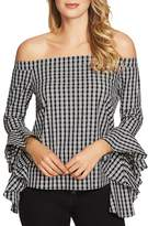 1 STATE 1.STATE Off-the-Shoulder Gingham Cascade Top