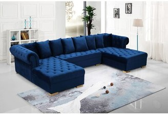 Presley Symmetrical Sectional Meridian Furniture USA Upholstery Color: Navy