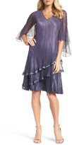 Komarov Women's Cape Sleeve Tiered A-Line Dress