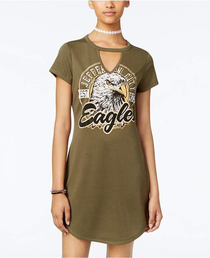Ultra Flirt Juniors' Cutout Graphic T-Shirt Dress