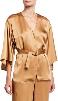 Sally LaPointe Satin Belted Kimono Top, Camel