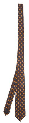 Gucci Wolf And Gg Crest Silk Faille Tie - Mens - Navy Multi