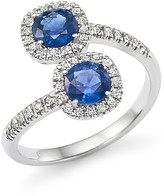 Bloomingdale's Diamond and Sapphire Two-Stone Halo Wrap Ring in 14K White Gold - 100% Exclusive