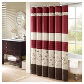 Nobrand No Brand Monroe Floral Pieced & Embroidered Shower Curtain - Red