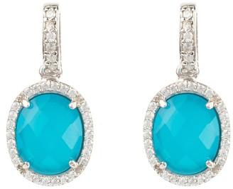 Latelita Beatrice Oval Gemstone Drop Earrings Silver Dark Blue Chalcedony