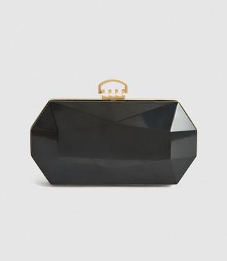 Reiss Minaudiere - Perspex Box Clutch in Black
