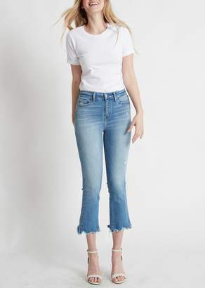 Flying Monkey Faria High Rise Uneven Raw Hem Crop Flare Jeans