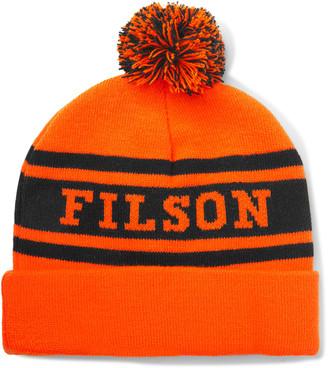 Filson Logo-Intarsia Knitted Beanie - Men - Orange