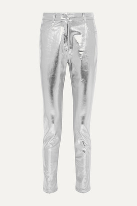 Fendi Metallic Coated High-rise Slim-leg Jeans - Silver