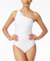Lauren Ralph Lauren Ottoman Shimmer Stripe One-Shoulder Swimsuit
