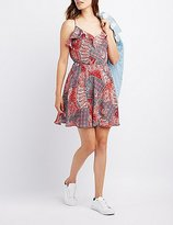 Charlotte Russe Paisley Lace-Up Back Skater Dress
