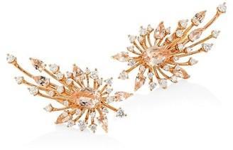 Hueb Luminus Morganite, Diamond & 18K Yellow Gold Post Earrings